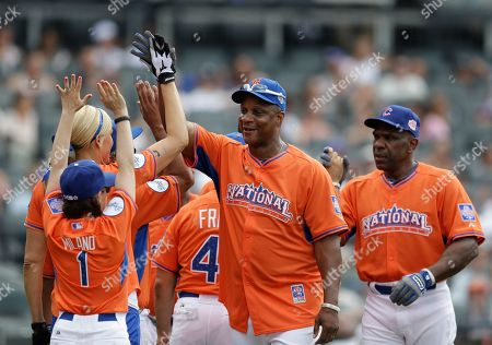 Darryl Strawberry Former New York Mets outfielder Darryl Strawberry greets National League teammates at the All Star Legends & Celebrity Softball Game on in New York