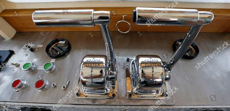 "The throttle and other controls are seen in the pilot house of the new ""Alice Jean"" towboat in Pittsburgh. The Campbell Transportation Company christened this and it's sister boat, the ""Renee Lynn"" and their portable drydock on Tuesday, June 25"