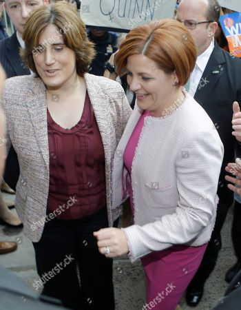 Stock Photo of Christine Quinn New York City mayoral hopeful Christine Quinn, right, arrives for the Democratic primary debate with partner Kim Catullo, in New York