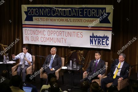 Bill de Blasio, John Liu, Bill Thompson,Anthony Weiner Democratic mayoral hopefuls Bill de Blasio, right, John Liu, second from right, Bill Thompson, second from left, and Anthony Weiner participate in a candidate forum in New York, . The Democratic candidates for New York City mayor are holding their first debate Tuesday evening