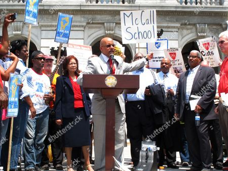 Sen. Vincent Hughes, D-Philadelphia, speaks at a rally to press Gov. Tom Corbett and Republicans who control the state Legislature for more public school funding on the steps of the Pennsylvania Capitol, in Harrisburg, Pa. The rally was attended by hundreds of school employees, including some just laid off by the Philadelphia School District