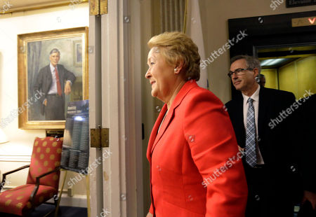 Pauline Marois Quebec Premier Pauline Marois, front, arrives at the office of Massachusetts Gov. Deval Patrick before a meeting at the Statehouse, in Boston, . The leader of Canada's second largest province is on a swing through New England during which she is also visiting the governors of Rhode Island, New Hampshire and Connecticut