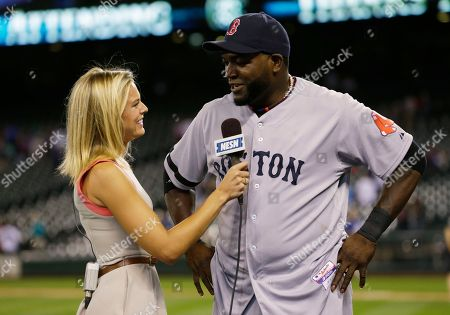 Stock Photo of David Ortiz, Heidi Watney NESN Boston Red Sox reporter Jamie Erdahl interviews David Ortiz following a baseball game between the Red Sox and the Seattle Mariners, in Seattle