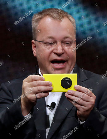 Nokia Lumia 1020, Stephen Elop Nokia CEO Stephen Elop shows his company's Nokia Lumia 1020, in New York, . The Nokia Lumia 1020, with a 41-megapixel camera, records more detail than other camera phones and even tops point-and-shoot cameras