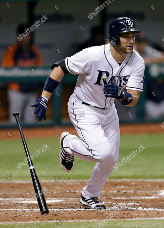 Luke Scott Tampa Bay Rays' Luke Scott hits a seventh-inning RBI double off Detroit Tigers starting pitcher Max Scherzer during a baseball game, in St. Petersburg, Fla. Rays' Wil Myers scored on the hit