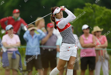 Stock Photo of Ha-Neul Kim Ha-Neul Kim of South Korea tees off the seventh hole during the second round at the U.S. Women's Open golf tournament at Sebonack Golf Club in Southampton, N.Y