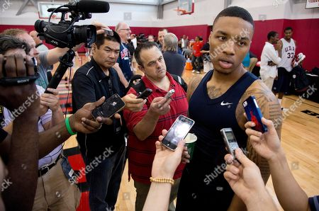 Damian Lillard Portland Trail Blazers guard Damian Lillard, answers questions for the media after a USA Basketball minicamp scrimmage, in Las Vegas. Twenty-eight of the best young players in the country are in Las Vegas for four days of workouts that essentially mark the kickoff of 2016 Olympic preparations