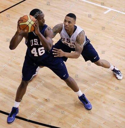 Damian Lillard, Harrison Barnes Portland Trail Blazers guard Damian Lillard, right, guards Golden State Warriors forward Harrison Barnes during a USA Basketball minicamp scrimmage, in Las Vegas. Twenty-eight of the best young players in the country are in Las Vegas for four days of workouts that essentially mark the kickoff of 2016 Olympic preparations