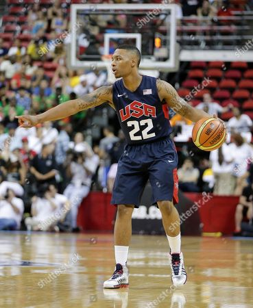 Portland Trail Blazers' Damian Lillard sets the offense during the USA Basketball Showcase game, in Las Vegas