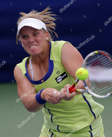 Melanie Oudin Melanie Oudin, of the United States, hits the ball during her match against Angelique Kerber, from Germany, at the Citi Open tennis tournament in Washington