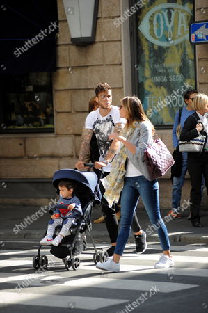 Editorial picture of Ricky Alvarez and family out and about, Milan, Italy - 04 Oct 2016