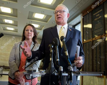Stock Photo of Howard McKeon, Martha Roby House Armed Services Committee Chairman Rep. Howard McKeon, R-Calif., right, with Subcommittee Chairman on Oversight and Investigations Rep. Martha Roby, R-Ala., speaks to the reporters following a House Armed Services Committee closed-door briefing, on Capitol Hill in Washington
