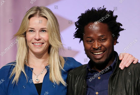 Chelsea Handler, Ishmael Beah Author, actress and comedian Chelsea Handler, left, and author Ishmael Beah pose for photos at Book Expo America, in New York