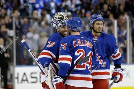 Henrik Lundqvist, Ryan Callahan, Steve Eminger New York Rangers right wing Ryan Callahan (24) congratulates New York Rangers goalie Henrik Lundqvist (30) of Sweden as New York Rangers defenseman Steve Eminger (44) joins them celebrating the Rangers 1-0 victory over the Washington Capitals in Game 6 of their NHL Stanley Cup hockey playoff series in New York, . The Rangers evened the series at 3-3, forcing a Game 7 in Washington Monday