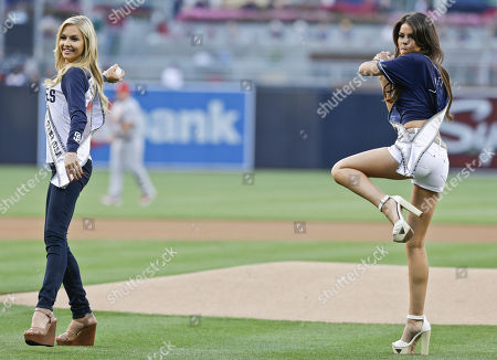 Mabelynn Capeluj, Cassidy Wolf MIss California Mabelynn Capeluj, right, and Miss California Teen USA Cassidy Wolf, both from San Diego, throw out the ceremonial first pitches before the baseball game between the San Diego Padres and St. Louis Cardinals in San Diego