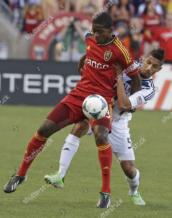 Olmes Garcia, Sean Franklin Real Salt Lake forward Olmes Garcia, left, and Los Angeles Galaxy defender Sean Franklin (5) battle for a ball during the first half of an MLS soccer game, Sandy, Utah