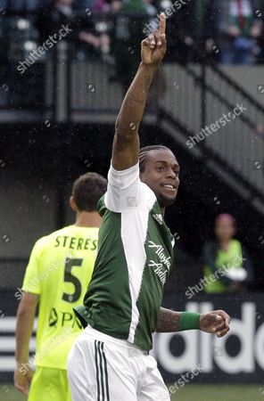 Frederic Piquionne Portland Timbers forward Frederic Piquionne celebrates after scoring his second goal during the first half of a U.S. Open third round soccer game against the Wilmington Hammerheads in Portland, Ore