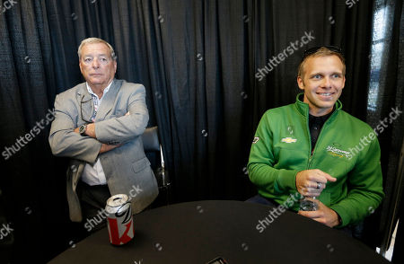 Fuzzy Zoeller, Ed Carpenter Ed Carpenter, right, responds to a question as Fuzzy Zoeller listens during a media interview for the Indianapolis 500 auto race at the Indianapolis Motor Speedway in Indianapolis
