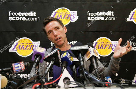 Steve Nash Los Angeles Lakers guard Steve Nash talks to the media at their practice center in El Segundo, Calif., . The Lakes lost in the first round of the playoffs to the San Antonio Spurs
