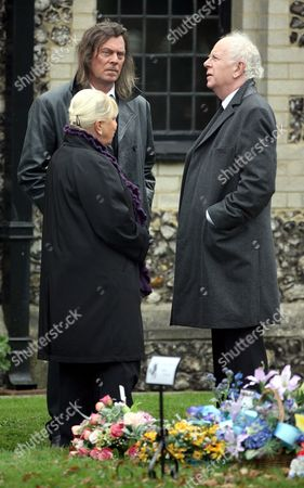 Laila Morse, David Spinx and Ray Brooks attending the funeral of Pauline Fowler