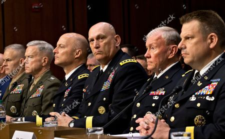 Richard C. Gross, Martin Dempsey, Raymond T. Odierno, Dana K. Chipman, James F. Amos, Vaughn A. Ary Military leaders, from right, legal counsel to the Chairman of the Joint Chiefs of Staff Brig. Gen. Richard C. Gross, Joint Chiefs Chairman Gen. Martin Dempsey, Army Chief of Staff Gen. Ray Odierno, Judge Advocate General of the Army Lt. Gen. Dana K. Chipman, Commandant of the Marine Corps Gen. James F. Amos, and Staff Judge Advocate to the Marine Corps Commandant Maj. Gen. Vaughn A. Ary, testify at a Senate Armed Services Committee holds a hearing on Capitol Hill in Washington, about whether a drastic overhaul of the military justice system is needed