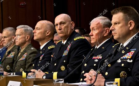 Stock Picture of Richard C. Gross, Martin Dempsey, Raymond T. Odierno, Dana K. Chipman, James F. Amos, Vaughn A. Ary Military leaders, from right, legal counsel to the Chairman of the Joint Chiefs of Staff Brig. Gen. Richard C. Gross, Joint Chiefs Chairman Gen. Martin Dempsey, Army Chief of Staff Gen. Ray Odierno, Judge Advocate General of the Army Lt. Gen. Dana K. Chipman, Commandant of the Marine Corps Gen. James F. Amos, and Staff Judge Advocate to the Marine Corps Commandant Maj. Gen. Vaughn A. Ary, testify at a Senate Armed Services Committee holds a hearing on Capitol Hill in Washington, about whether a drastic overhaul of the military justice system is needed