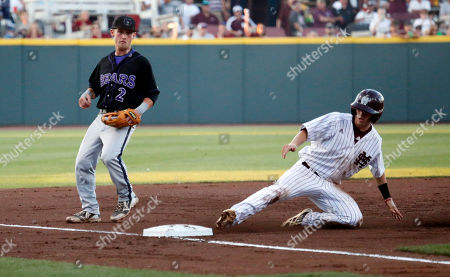 Sam Frost, Justin Treece Mississippi State's Sam Frost slides safely into third base as Central Arkansas[' Justin Treece watches in the second inning of their NCAA college baseball regional tournament game in Starkville, Miss