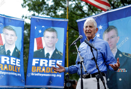 """Daniel Ellsberg Daniel Ellsberg speaks during a rally in support of Army Pfc. Bradley Manning outside the gates of Fort Meade, Md. OnMonday, June 10, 2013 Ellsberg, the whistleblower responsible for releasing the Pentagon Papers, called the revelations by government contractor Edward Snowden on U.S. secret surveillance programs the most """"significant disclosure"""" in the nation's history- more important than the Pentagon Papers as well as information given to the anti-secrecy website Wikileaks by U.S. Army intelligence analyst Bradley Manning"""