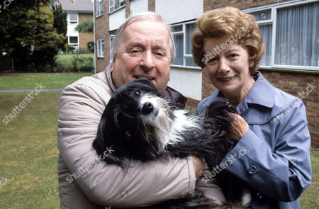 Stock Photo of Hugh Lloyd and Jean Alexander with Pippin the Dog, in 'Woof' - 1988