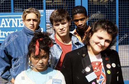 Jason Rush, Cheryl Miller, Simon O'Brien, Mark Monero and Elena Ferrari in 'Young, Gifted and Broke' - 1989