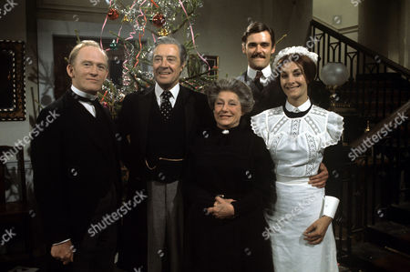 The Cast from 'Upstairs Downstairs' - 1973 From the Episode, 'Goodwill to all Men' - Gordon Jackson, David Langton, Angela Baddely, Simon Williams and Jean Marsh