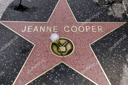 A flower is left at Jeanne Cooper's star on the Hollywood Walk of Fame in Hollywood Boulevard in Los Angeles on . 'Young and Restless' star Jeanne Cooper died Wednesday at age 84