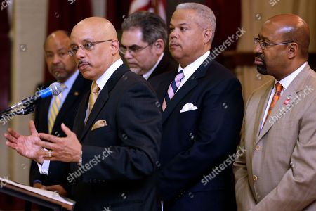 Michael Nutter, James Roebuck, Pedro A. Ramos, Anthony Williams, Vincent Hughes From left, state Rep. James Roebuck, state Sen. Vincent Hughes D-Philadelphia, Pedro A. Ramos, Chairman, School Reform Commission, state Sen. Anthony Williams D-Philadelphia, and Mayor Michael Nutter take part in a news conference at Andrew Jackson Public School, in Philadelphia. After days of protests and walkouts by city students concerned about budget cuts, local officials called for additional funds for the Philadelphia school district. The system is facing a $300 million deficit, which education advocates say will devastate classrooms