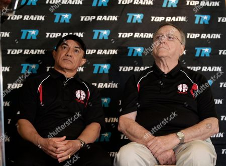 Ismael Salas, Miguel Diaz Ryota Murata's trainers Ismael Salas, left, and Miguel Diaz at a news conference to announce professional boxing debut of 2012 Japanese middleweight Olympic Gold Medalist Ryota Murata, in Beverly Hills, Calif