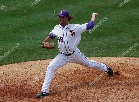 Stock Photo of LSU's Chris Cotton pitches in the ninth inning of their Southeastern Conference Tournament baseball game against Alabama at the Hoover Met in Hoover, Ala., . LSU beat Alabama 3-0