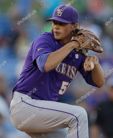 LSU's Chris Cotton pitches in the eleventh inning of a win over Vanderbilt the Southeastern Conference Tournament championship baseball game at the Hoover Met in Hoover, Ala., . LSU beat Vanderbilt 5-4 in eleven innings. Cotton was named the tournament's Most Valuable Player