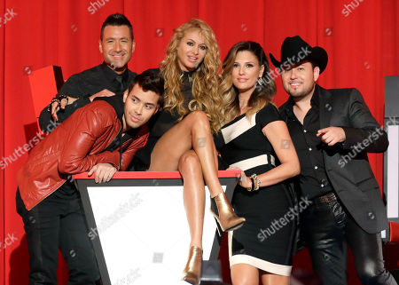 Jorge Bernal, Prince Royce, Paulina Rubio, Daisy Fuentes, Roberto Tapia From left, Jorge Bernal, background, Prince Royce, foreground, Paulina Rubio, Daisy Fuentes, and Roberto Tapia pose for photographers in Miami, Florida. Telemundo will air its second season of the singing competition La Voz Kids in 2014, with Natalia Jimenez replacing Paulina Rubio as a coach
