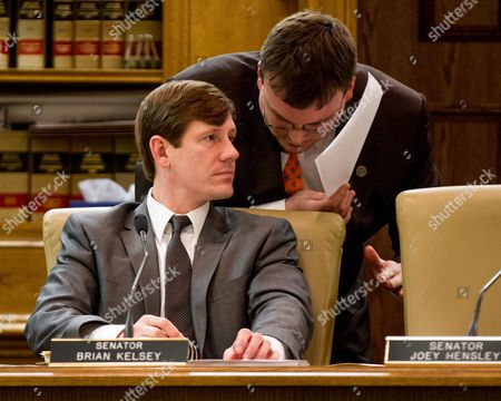 Brian Kelsey Sen. Brian Kelsey, R-Germantown, left, confers with legislative research analyst Nathan James during a committee meeting in Nashville, Tenn. With many of the most contentious issues already decided, leaders in both chambers are hoping for a smooth ending to the legislative session