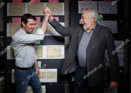 """Stock Image of Brent Bushnell, Nolan Bushnell Nolan Bushnell, the founder of Atari, right cheers his son, Brent Bushnell, CEO of """"Two-Bits-Circus,"""" a Los Angeles idea factory focused on software, hardware and machines. Nolan Bushnell was the first guy to give Steve Jobs his first full-time job in Silicon Valley at Atari. Two Bit Circus is a unique hybrid of intellectuals, creatives and performers"""
