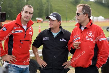 Xavier Pons and Carlos Del Barrio, pictured with England TV presenter Neil Cole - Leading WRC Rally drivers from Spain, England and Australia took on some New Zealand flavoured challenges more likely to be seen on the farm or lifestyle block than a World Rally, ahead of the WRC New Zealand event which starts Friday. The fun competition between Citroen and Subaru teams included a slalom race with a small tractor and trailer of hay bales, a ride on lawnmower race, and a sheep shearing exercise at the headquarters for the event at Mystery Creek near Hamilton City.