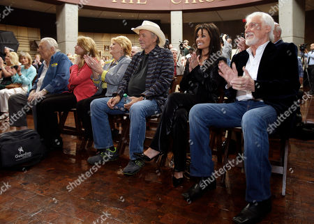 Bobby Bare, Amy Harkness, Jeannie Bare, Jack Clement, Kenny Rogers, Wanda Bare Kenny Rogers, right, sits with Jack Clement, far left, and Bobby Bare, center,, in Nashville, Tenn., during the announcement that they will be inducted into the Country Music Hall of Fame. From left are Jack Clement, Amy Harkness, Clement's nurse; Jeannie Bare, wife of Bobby Bare; Bobby Bare; Wanda Rogers, wife of Kenny Rogers; and Kenny Rogers