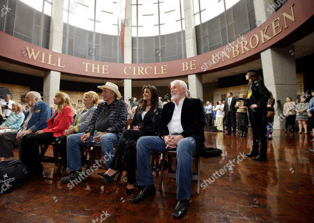 Bobby Bare, Amy Harkness, Jeannie Bare, Jack Clement, Kenny Rogers, Wanda Bare Kenny Rogers, right, sits with Jack Clement, far left, and Bobby Bare, center,, in Nashville, Tenn., in the Country Music Hall of Fame, during the announcement that they will be inducted into the Hall. From left are Jack Clement, Amy Harkness, Clement's nurse; Jeannie Bare, wife of Bobby Bare; Bobby Bare; Wanda Rogers, wife of Kenny Rogers; and Kenny Rogers