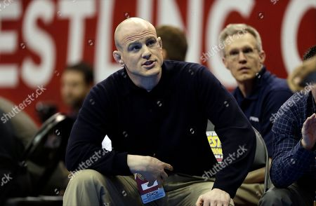 Cael Sanderson Penn State coach Cael Sanderson watches his 285-pound wrestler James Lawson during a match against Ohio's Jeremy Johnson at the NCAA division I wrestling championships, in Des Moines, Iowa