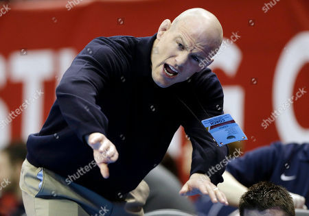 Cael Sanderson Penn State coach Cael Sanderson shouts to his 285-pound wrestler James Lawson during a match against Ohio's Jeremy Johnson at the NCAA division I wrestling championships, in Des Moines, Iowa