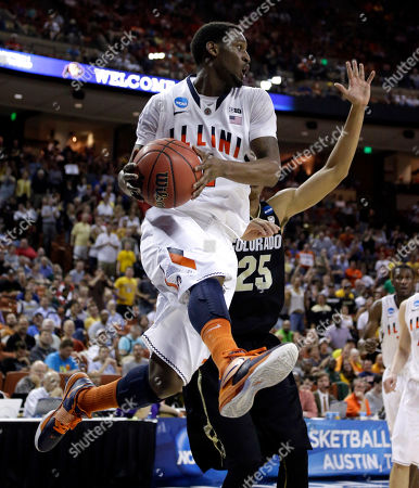 D.J. Richardson, Spencer Dinwiddie Illinois' D.J. Richardson (1) looks to pass the ball as Colorado's Spencer Dinwiddie (25) defends during the second half of a second-round game of the NCAA college basketball tournament, in Austin, Texas. Illinois beat Colorado 57-49