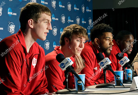 Stock Image of Cody Zeller, Jordan Hulls, Christian Watford, Victor Oladipo From left, Indiana's Cody Zeller, Jordan Hulls, Christian Watford and Victor Oladipo attend a news conference at the NCAA college basketball tournament, in Dayton, Ohio. Indiana is scheduled to play Temple on Sunday