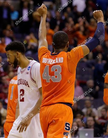 James Southerland, Christian Watford Syracuse forward James Southerland (43) celebrates victory as Indiana forward Christian Watford (2) walks off across the court during the second half of a East Regional semifinal in the NCAA college basketball tournament, in Washington. Syracuse defeated Indiana 61-50