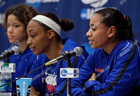 Angel Goodrich, Monica Engelman, Carolyn Davis Kansas' Angel Goodrich, far right, takes questions alongside Monica Engelman, left, and Carolyn Davis during a news conference one day before a second-round game against South Carolina in the NCAA women's college basketball tournament, in Boulder, Colo