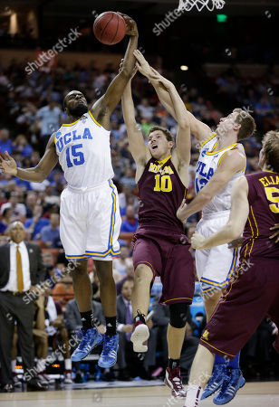 Oto Osenieks, Shabazz Muhammad UCLA's Shabazz Muhammad (15) and Minnesota's Oto Osenieks (10) during the first half of a second-round game of the NCAA college basketball tournament, in Austin, Texas