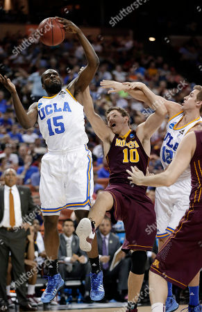 Shabazz Muhammad, David Wear, Oto Osenieks Minnesota's Oto Osenieks (10) reaches for a rebound with UCLA's Shabazz Muhammad (15) and David Wear (12) during the first half of a second-round game of the NCAA men's college basketball tournament, in Austin, Texas